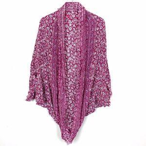 American Eagle Burgundy Floral Cocoon Kimono